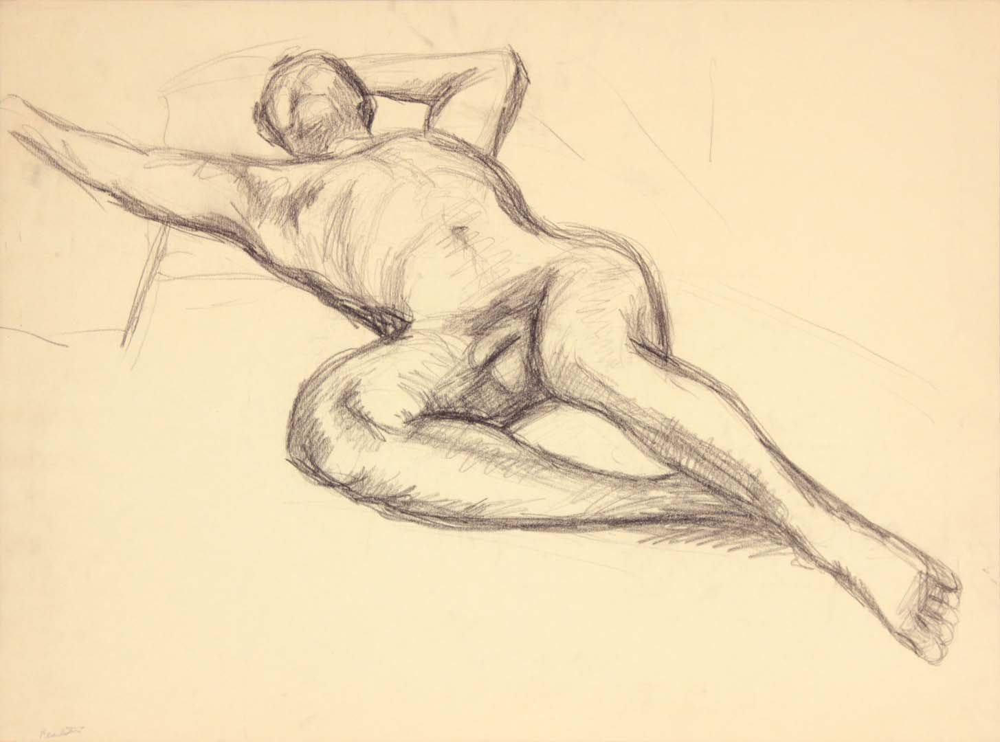 Reclining Male Model with Right Arm Outstretched Graphite 17.75 x 24
