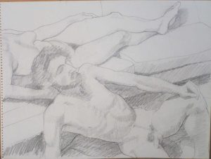 Reclining Male and Female Models Pencil 18 x 24