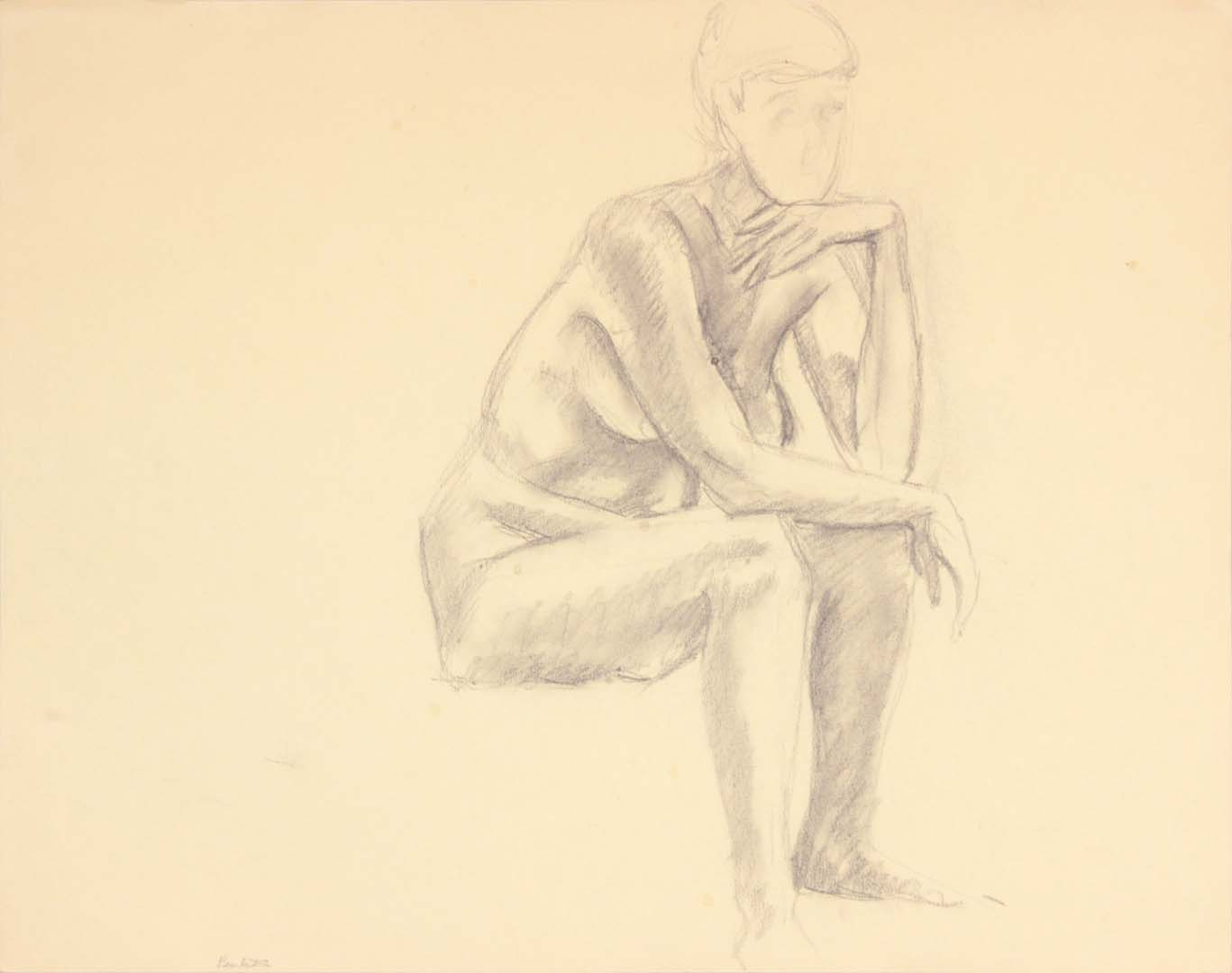 Seated Female Leaning Forward Graphite 19 x 24