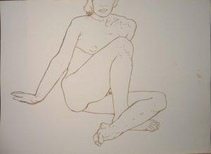 Seated Female Model Sepia 22.125 x 29.875