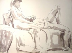 Seated Female Model and Reclining Male Model Sepia 22 x 29.875