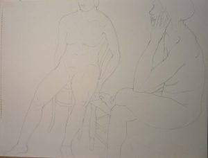 Seated Female Models Pencil 18 x 24
