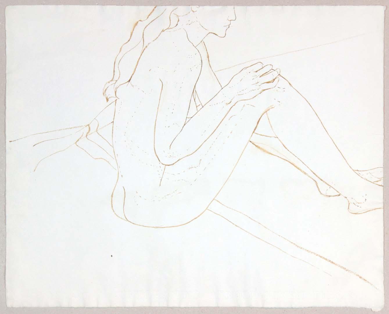 Seated Female Nude Wash 19 x 23.875