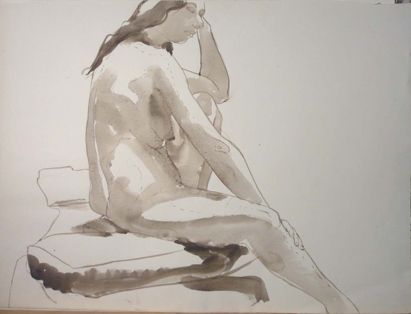 Seated Female Nude Watercolor 20.25 x 27.25