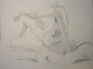 Seated Female Nude Pencil 18 x 24