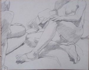 Seated Female and Male Nudes Pencil 11 x 14
