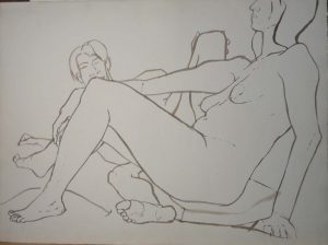 Seated Female in Front of Male Sepia 22.125 x 29.875