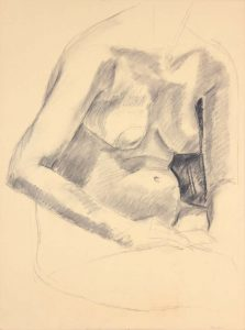 Seated Female with Hand Resting on Leg Graphite 24 x 17.75