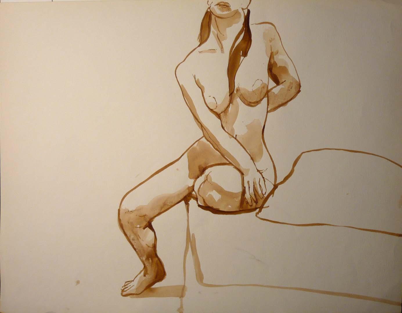 Seated Figure Sepia 19.875 x 25.875