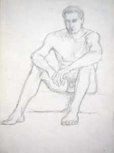Seated Male Model Pencil 13 x 9.5