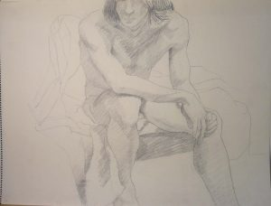 Seated Male Model Pencil 18 x 24