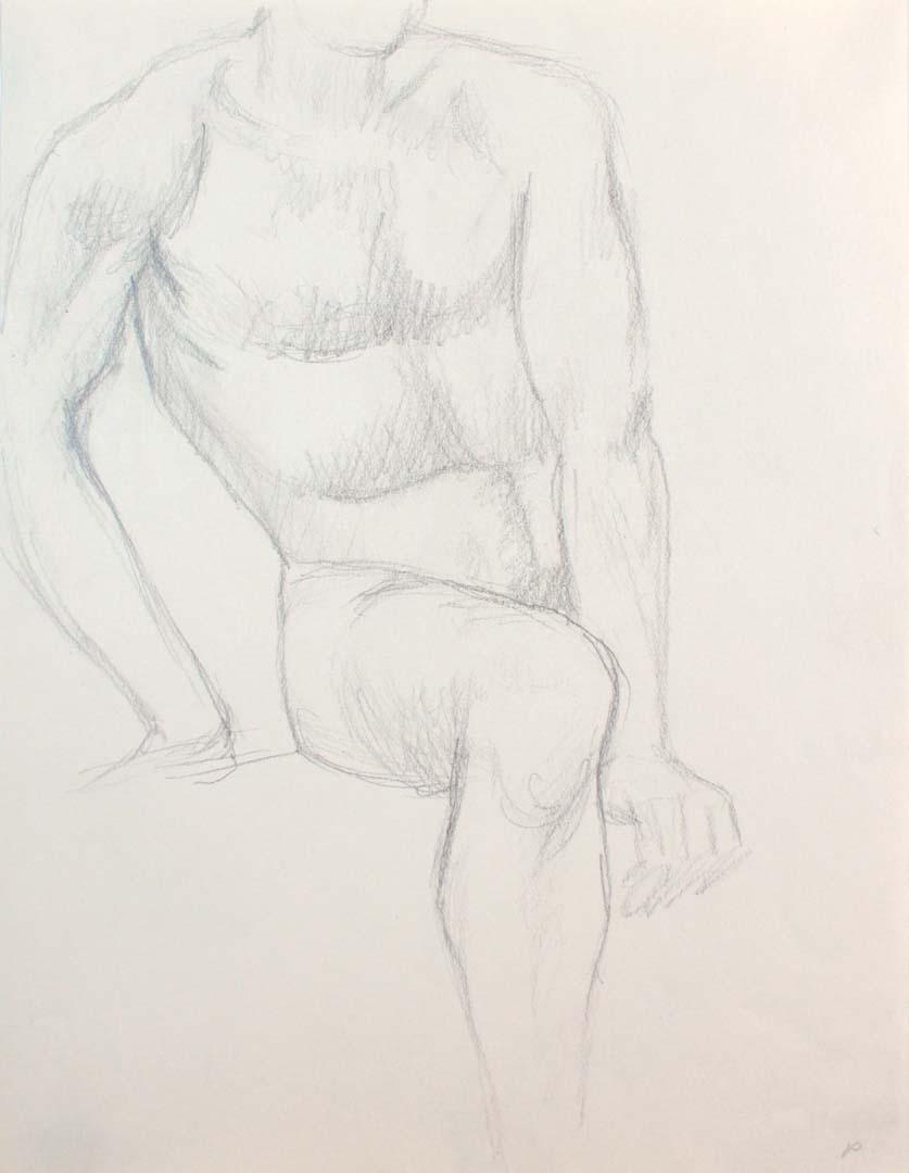 Seated Male Nude Pencil 12 x 9