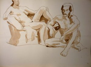 Seated Male and Female Models Pencil 18 x 23.875