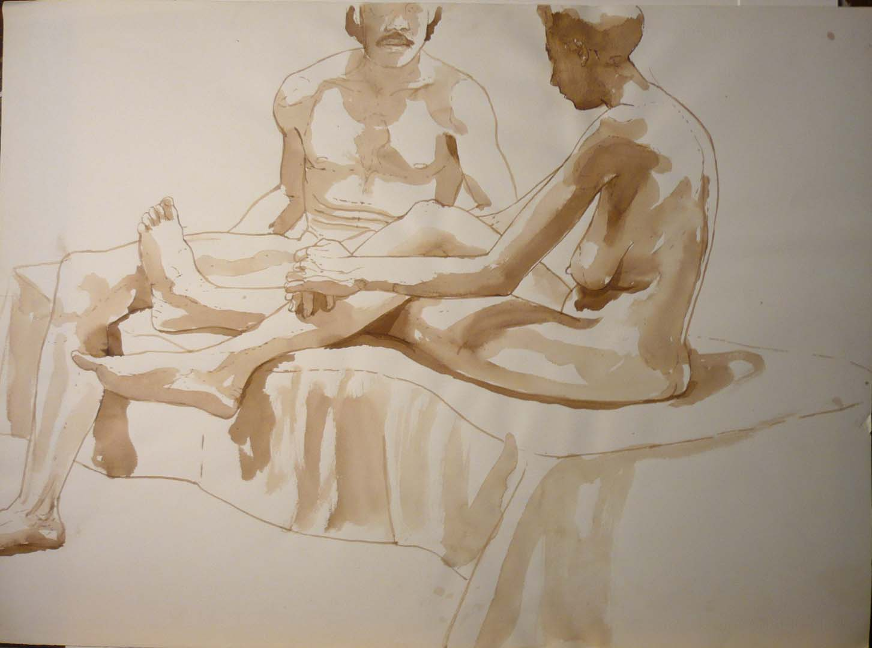 Seated Male and Female Nudes Sepia 22 x 29.875
