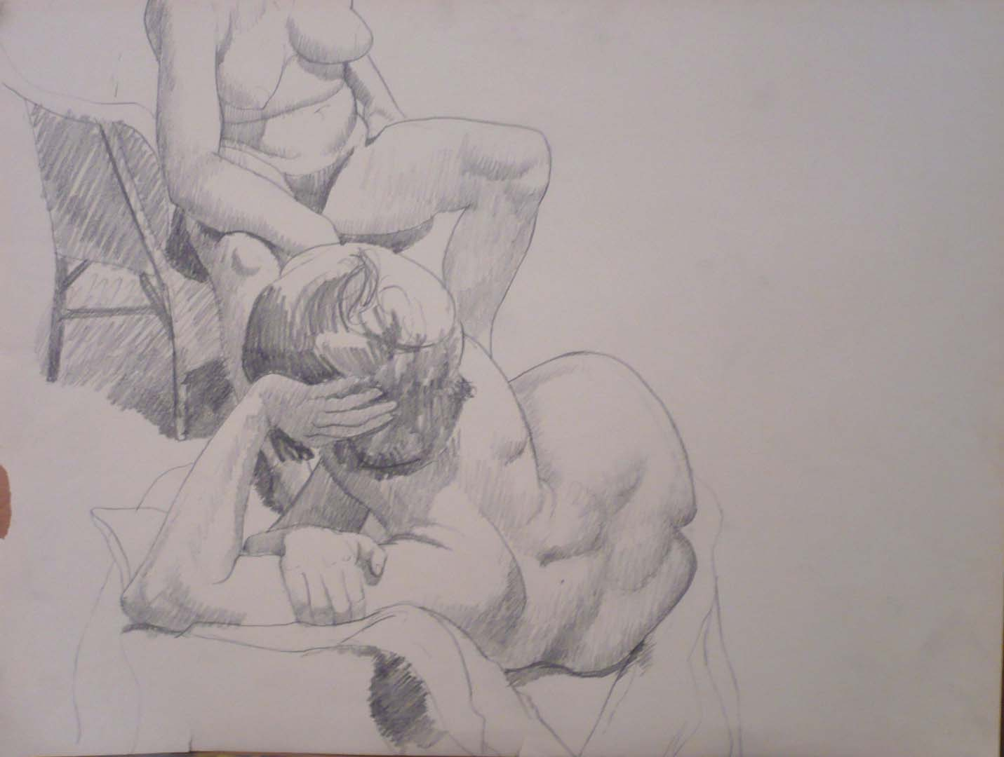 Seated Model and Reclining Model Pencil 16.375 x 21.625