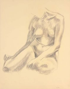 Seated Model with Legs Bent Backwards Graphite 24 x 19