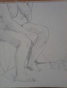 Seated Nude with Arm Raised on Leg Pencil 14 x 11