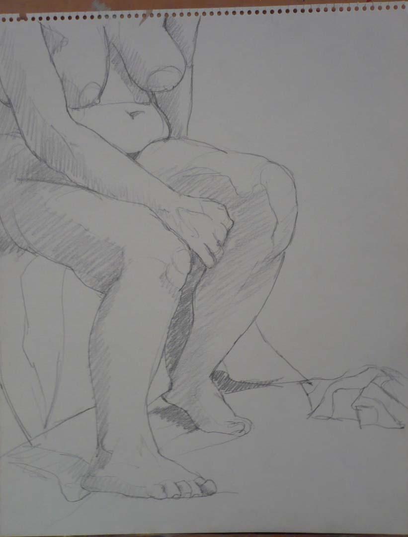 Seated Nude with Arm Raised on Leg Pencil 14 x 11