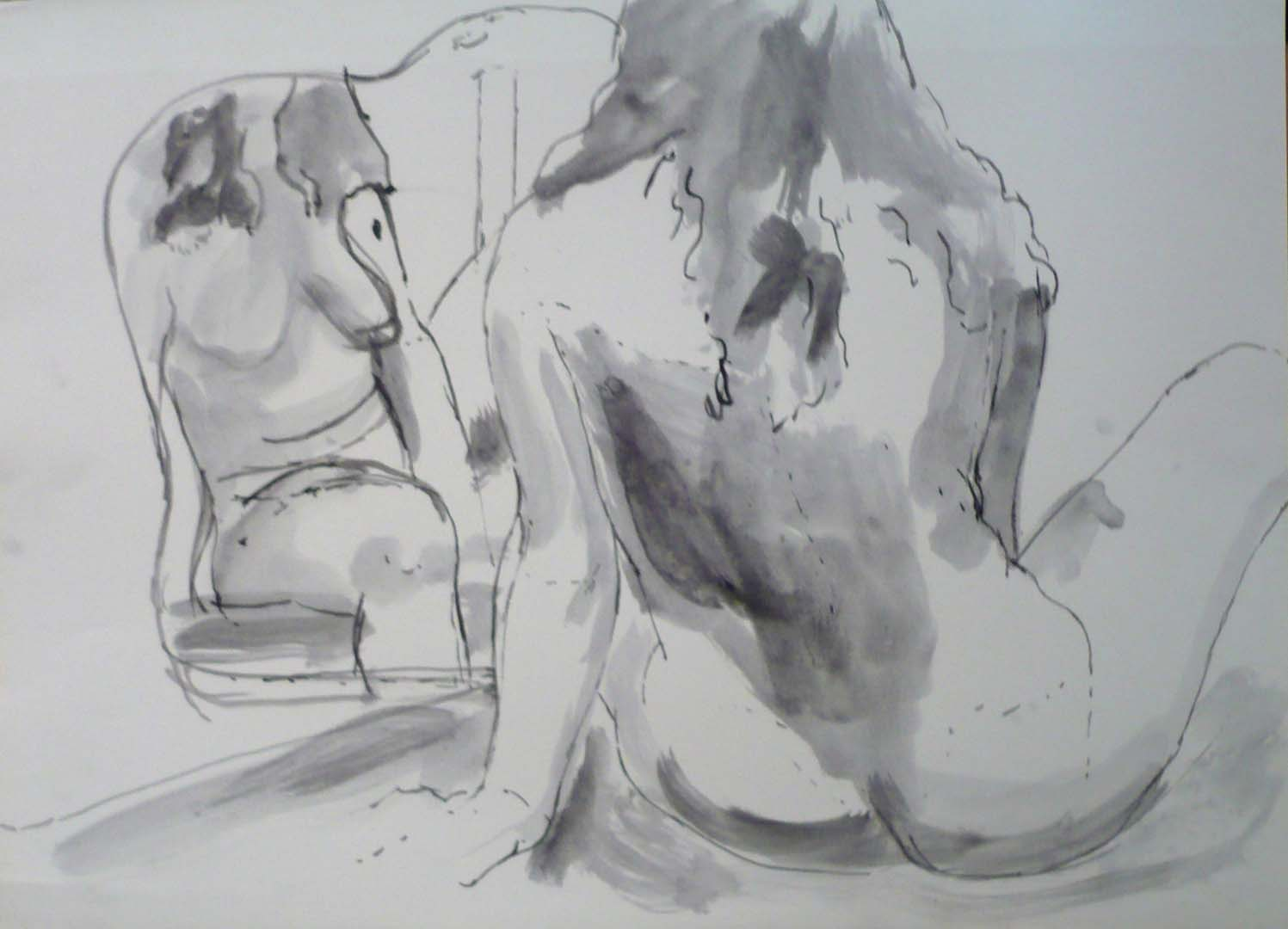 Seated Nude with Mirror Black Ink Wash 22 x 30