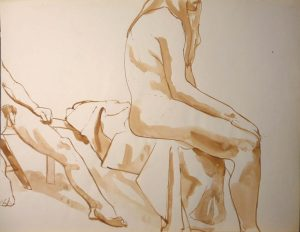 Sitting Male and Female Models Sepia 19.875 x 25.75