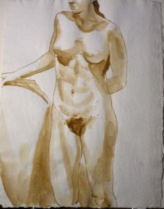 Standing Female Model Resting Arm Sepia 21 x 16.25