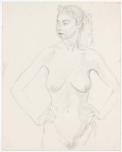 Standing Female Model with Hands on Hip Pencil 13.875 x 10.875