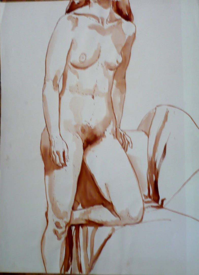 Standing Female Model with Left Leg Resting on Sofa Sepia 29.875 x 22