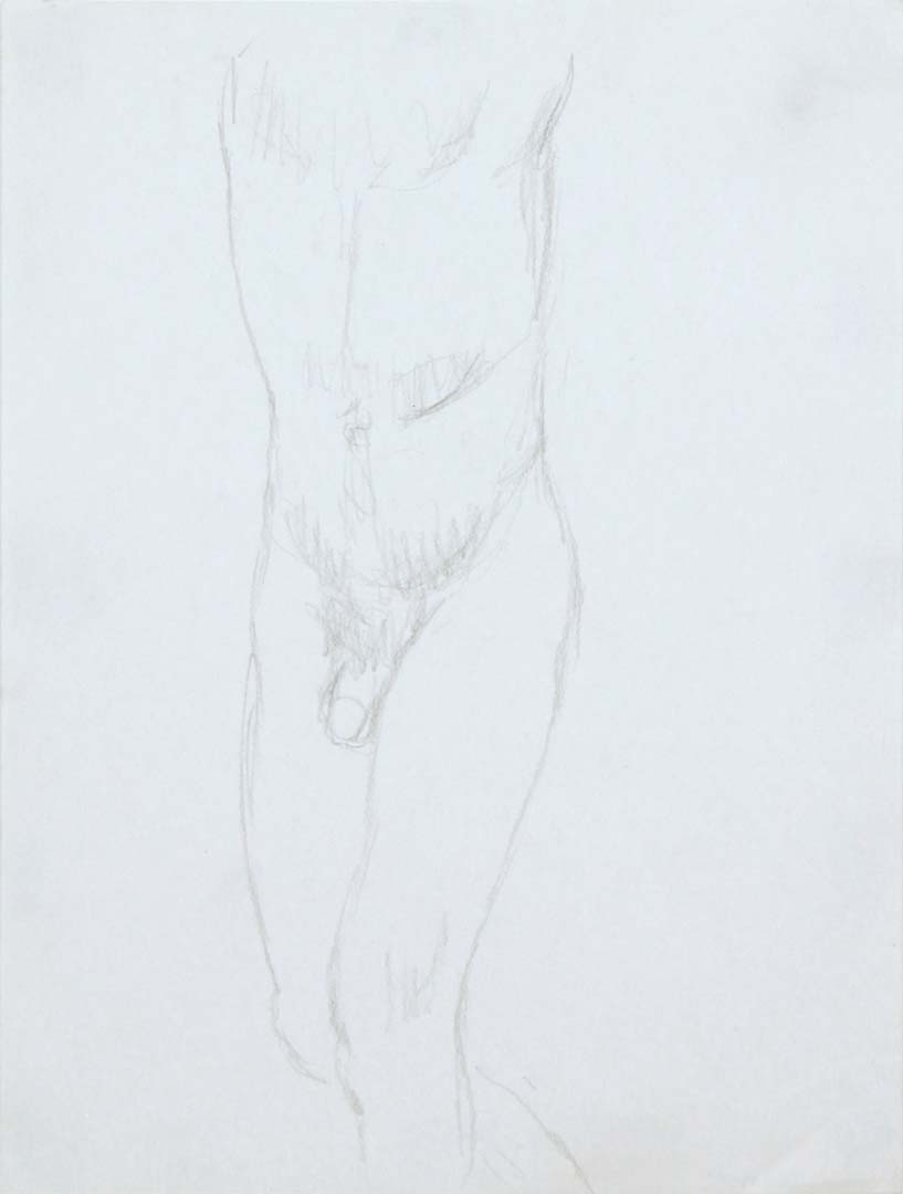 Standing Male Nude Pencil 12 x 9