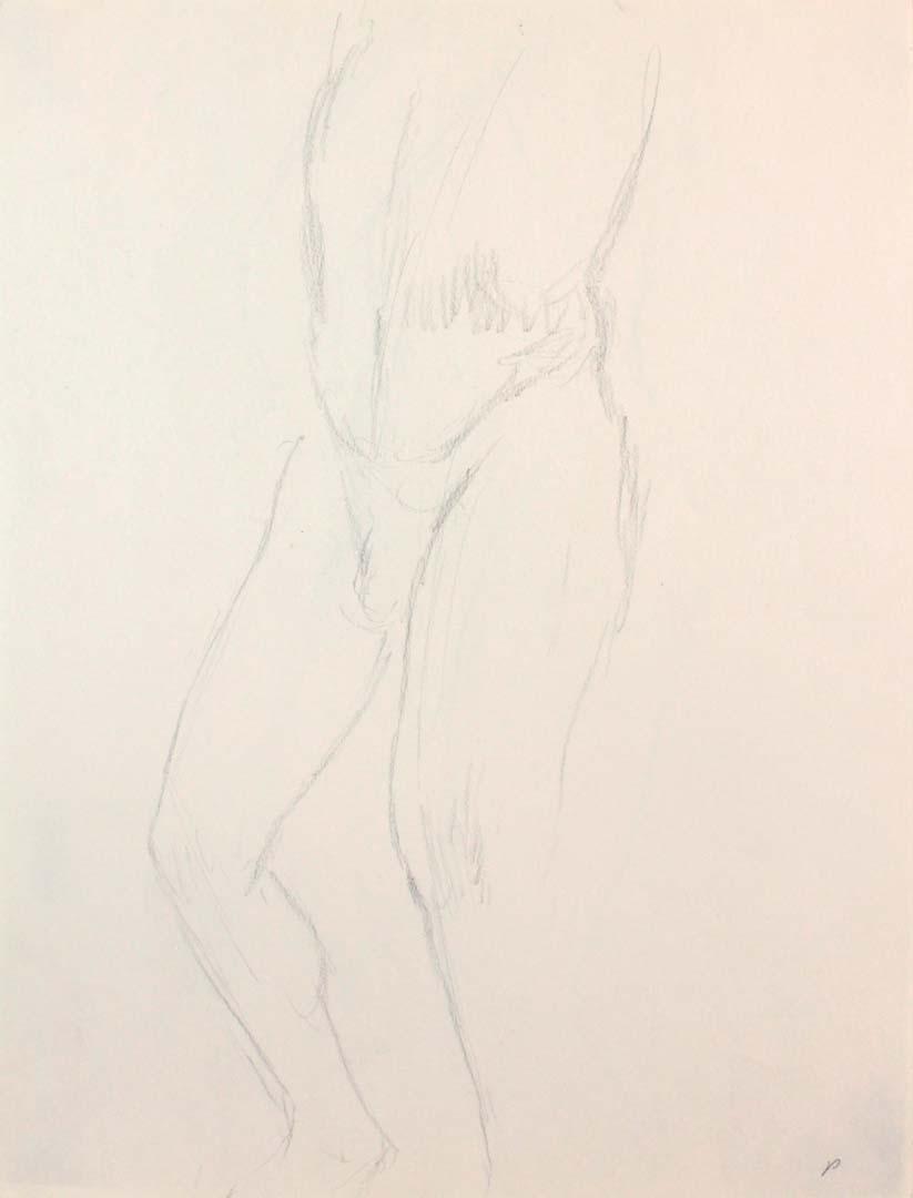 Standing Male Nude Leg Bent Pencil 12 x 9