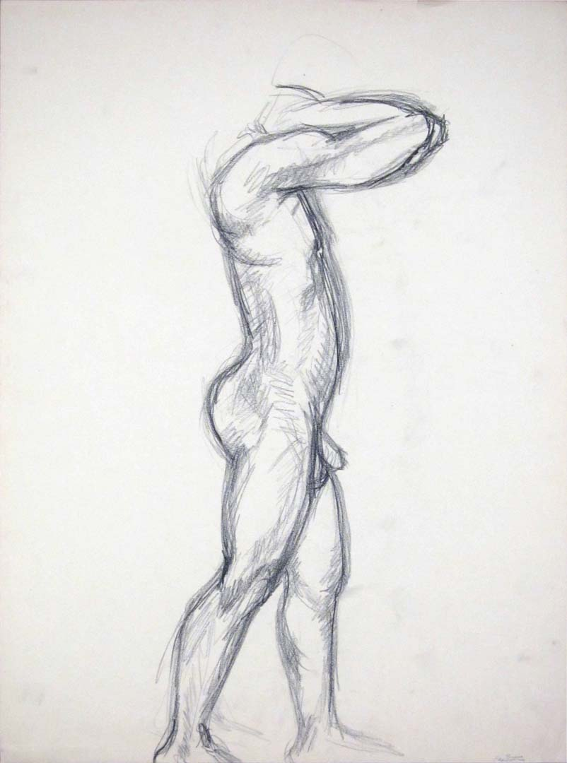 Standing Male Nude with Left Arm Raised Charcoal 24 x 17.875
