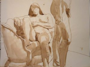 Standing Male and Female with Sofa Sepia 17.875 x 23.875