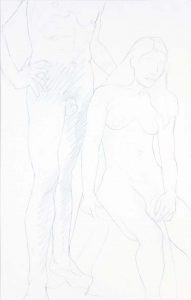 Standing Male and Seated Female Graphite 22 x 14