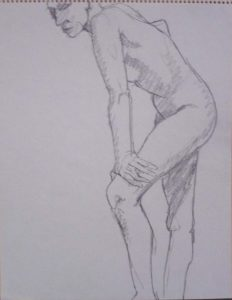Standing Model Leaning Forward Pencil 14 x 11