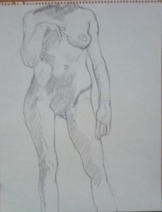 Standing Model with Hand on Chest Pencil 14 x 11