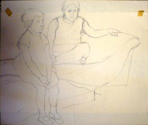 Study for Portrait of the Artist's Daughters Pencil 17.875 x 23.875