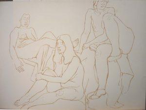 Three Sitting Nudes Sepia 22 x 30