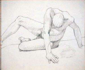 Twisted Male Sitting Pencil 14 x 17