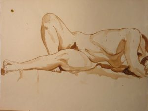 Twisted Nude Reclining Sepia 16.25 x 21.625