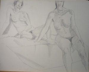 Two Female Models Sitting Pencil 22.625 x 28.5
