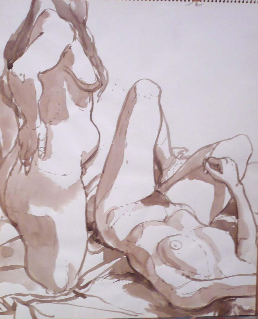 Two Female Models on Drape Sepia 16.75 x 13.875