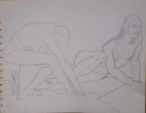 Two Female Models with Chair Pencil 10.75 x 13.75