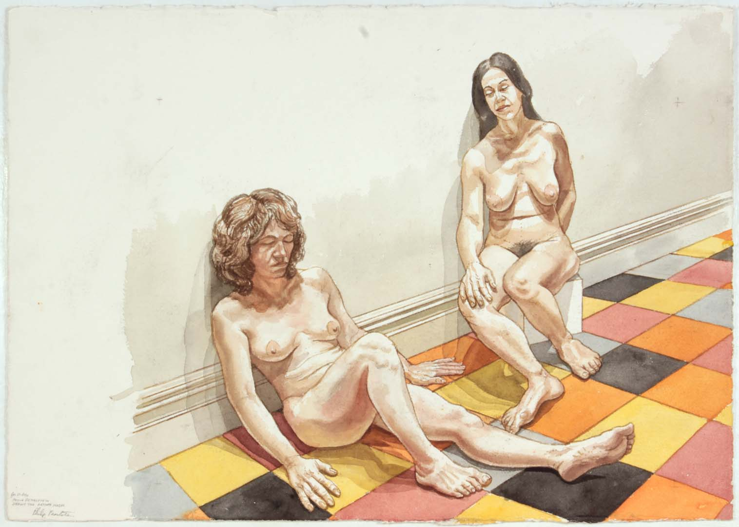 Two Females Models Leaning on Wall Watercolor on Paper