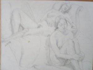 Two Females with Victorian Sofa Pencil 18 x 24
