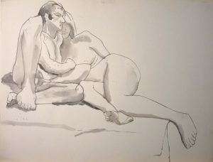 Two Models Leaning Against Each other Black Wash 17.375 x 22.875
