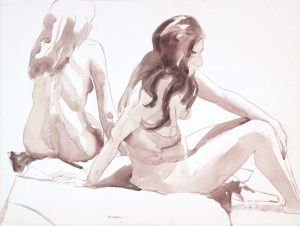 Two Seated Female Models Wash 20.625 x 27.125