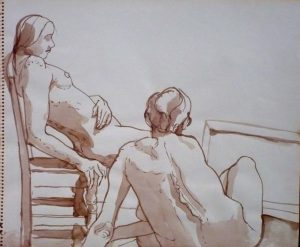 Two Seated Female Nudes with Chair Sepia 14 x 17