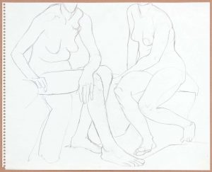 Two Seated Females Pencil 13.75 x 17