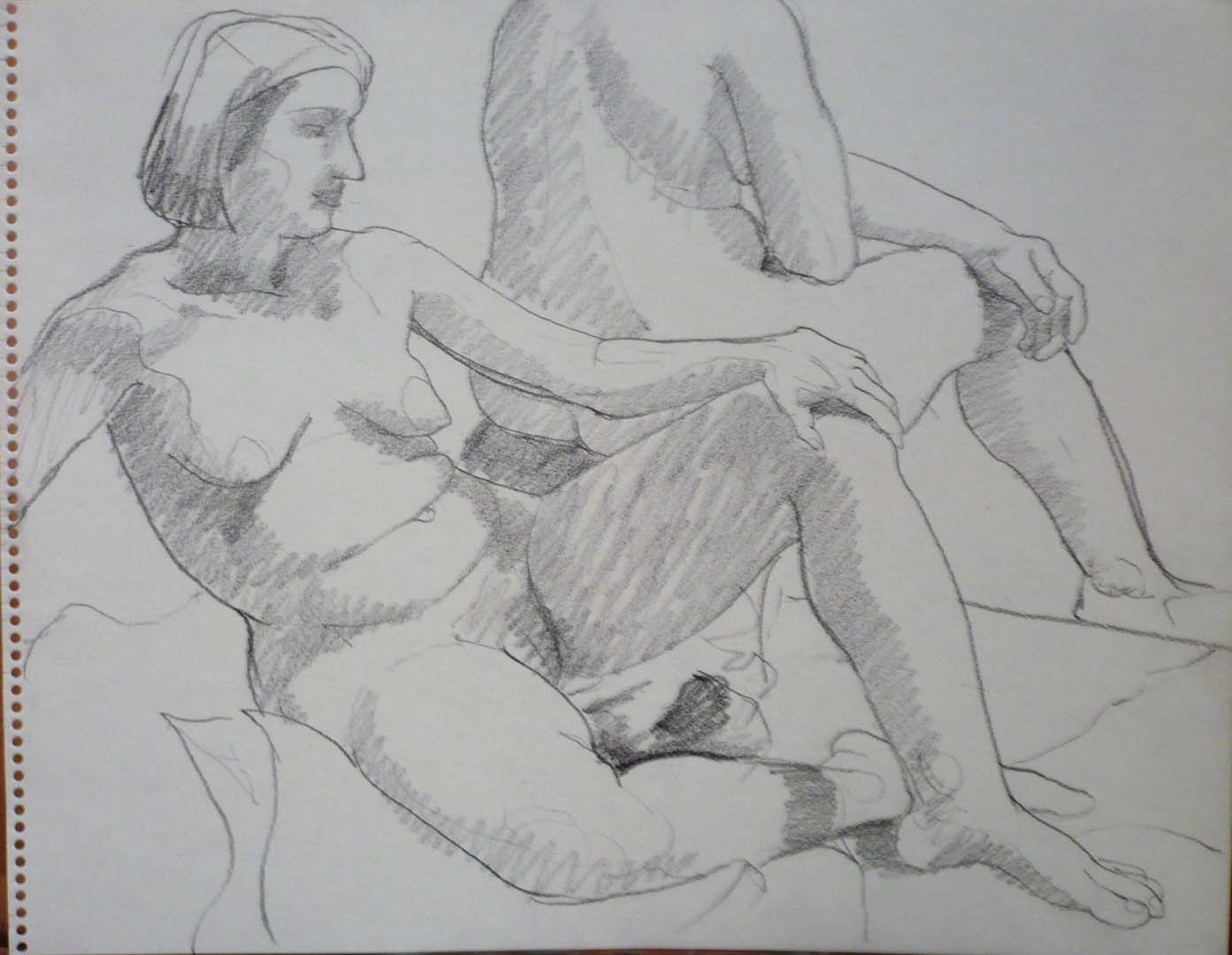 Two Seated Models Pencil 11 x 14
