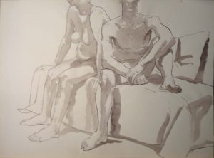 Two Seated Models Sepia 22 x 29.875