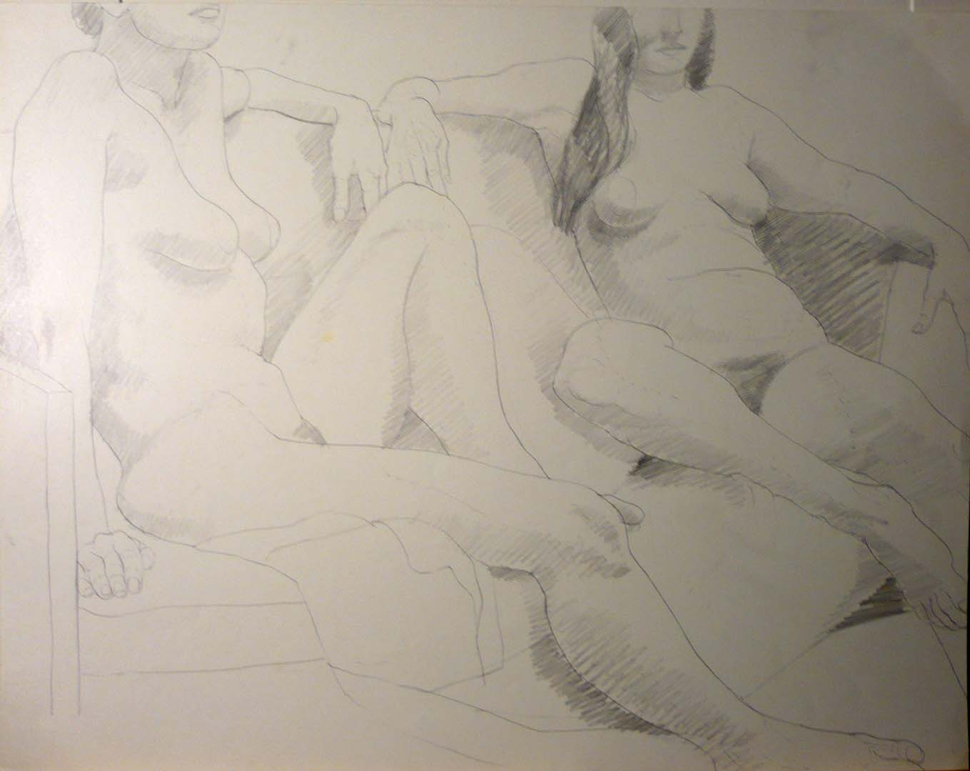 Two Seated Models on Sofa Pencil 18.75 x 24